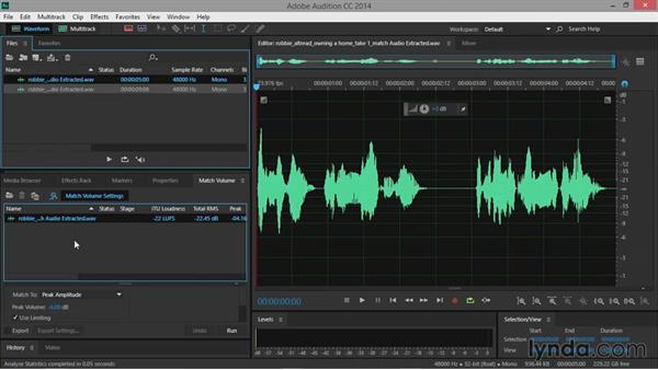 Matching volume: Premiere Pro Guru: Audio Finishing Techniques