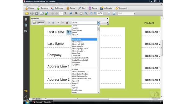 Adding text using the Typewriter tool: Acrobat 9 Pro Essential Training