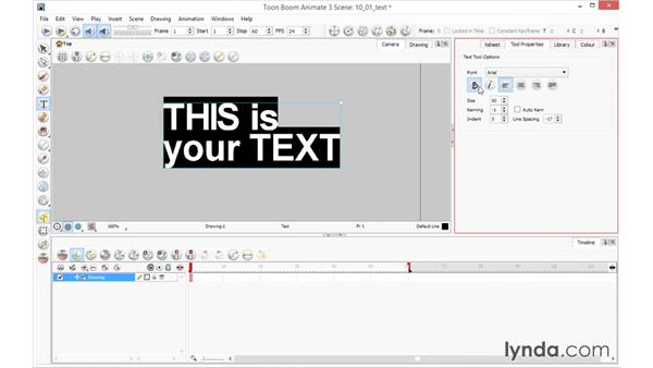 Creating and adjusting text: Toon Boom Animate and Harmony Essential Training