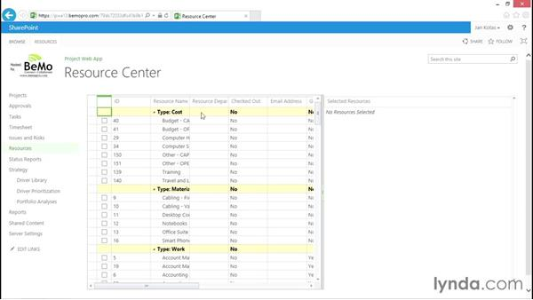 Using the Resource Center: Enterprise resource pool: Microsoft Project Web Application 2013