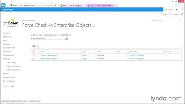 Forcing check-in for a project: Microsoft Project Web Application 2013