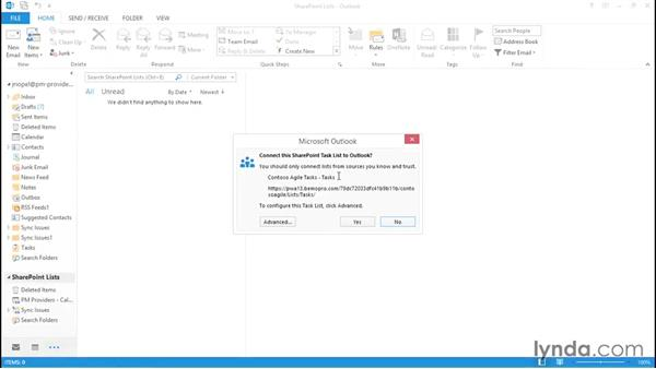 Connecting lists to Outlook: Microsoft Project Web Application 2013