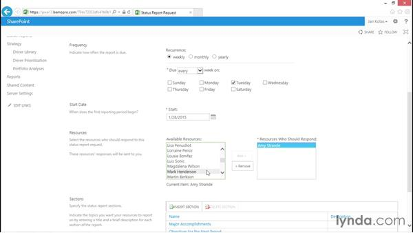 Request a status report: Microsoft Project Web Application 2013