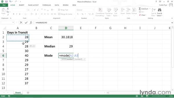 Calculating mean and median values: Data-Analysis Fundamentals with Excel