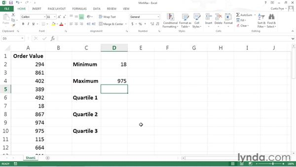 Measuring maximums, minimums, and other data characteristics: Data-Analysis Fundamentals with Excel
