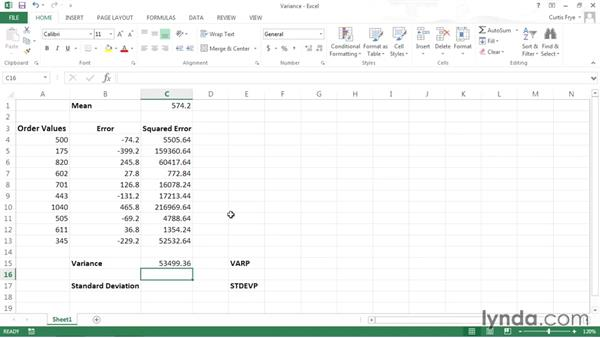 Analyzing data using variance and standard deviation: Data-Analysis Fundamentals with Excel