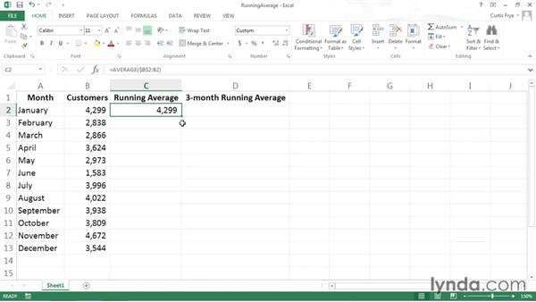 Calculating running averages: Data-Analysis Fundamentals with Excel