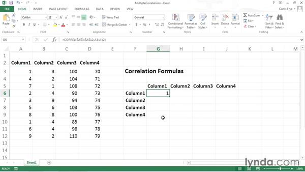 Calculating correlation among multiple pairs of columns: Data-Analysis Fundamentals with Excel
