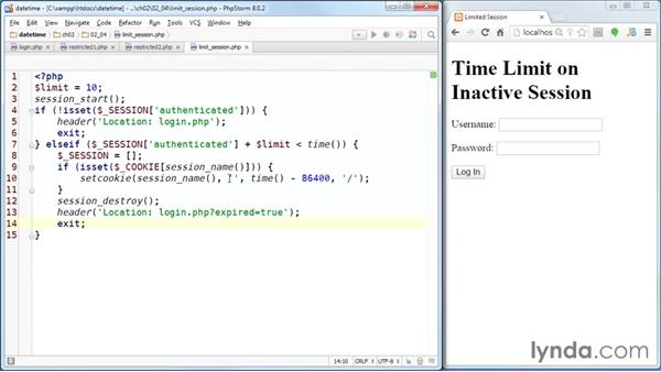 Using time() to end a session after a period of inactivity: PHP Date and Time Essential Training