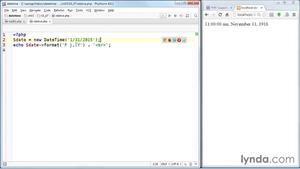 Modifying the time stamp with a date string: PHP Date and Time Essential Training