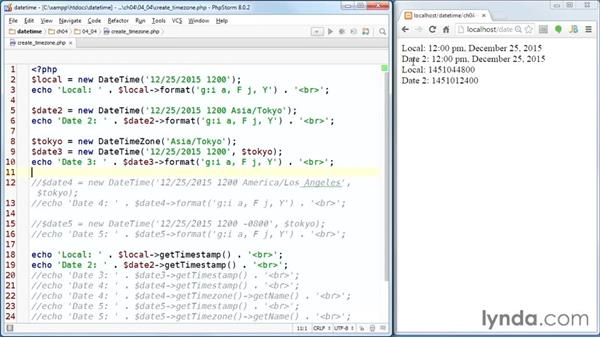 Creating a DateTime object for a different time zone: PHP Date and Time Essential Training