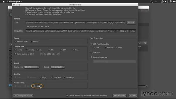Exporting directly from LRTimelapse: Creating Time-Lapse Movies with Lightroom and LRTimelapse