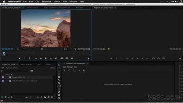 Assembling a time-lapse sequence with Premiere Pro: Creating Time-Lapse Movies with Lightroom and LRTimelapse