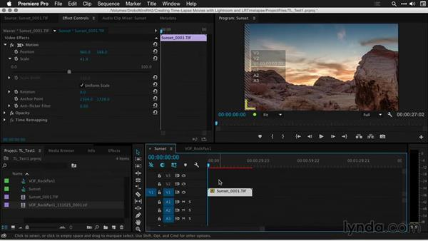 Cropping, resizing, and retiming shots in Premiere Pro: Creating Time-Lapse Movies with Lightroom and LRTimelapse