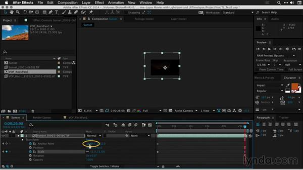 Cropping and resizing shots in After Effects: Creating Time-Lapse Movies with Lightroom and LRTimelapse