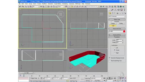 Creating architectural objects pt. 1: Walls: 3ds Max 2009 Essential Training