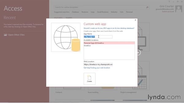 Creating a new app: Creating Access Web Apps in SharePoint 2013