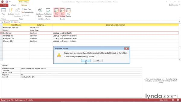 Deleting relationships and tables: Creating Access Web Apps in SharePoint 2013