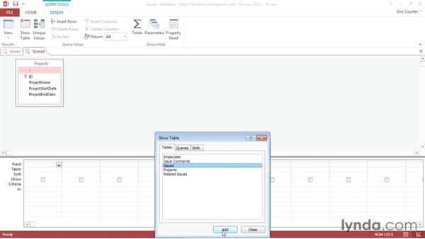 Creating a query: Creating Access Web Apps in SharePoint 2013