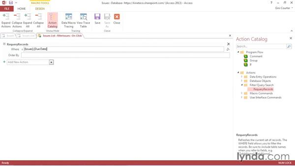 Running a macro from an action button: Creating Access Web Apps in SharePoint 2013