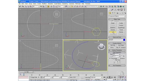 Lofting objects: 3ds Max 2009 Essential Training