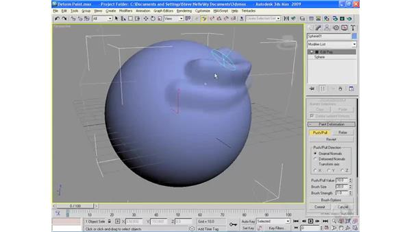 Paint deformations: 3ds Max 2009 Essential Training