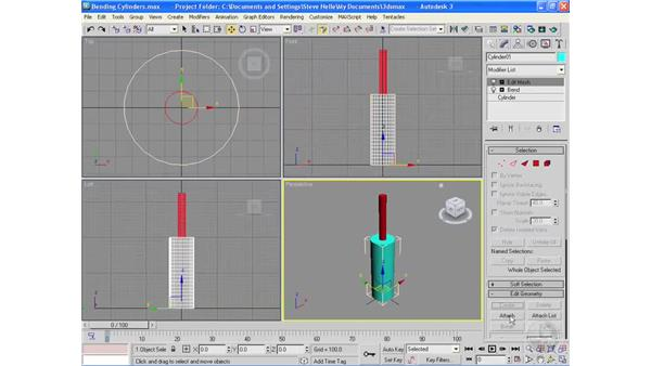 Applying modifiers in the middle of the stack: 3ds Max 2009 Essential Training