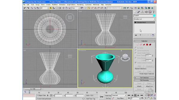Collapsing the stack...how and why: 3ds Max 2009 Essential Training