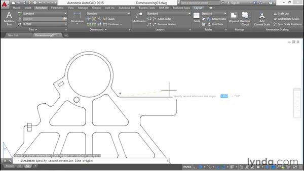 Creating linear dimensions and adjusting their properties: Working with Dimensions in AutoCAD