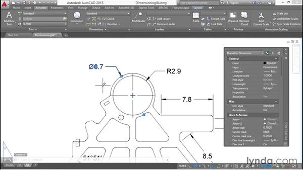 Radius, diameter and arc length dimensions: Working with Dimensions in AutoCAD