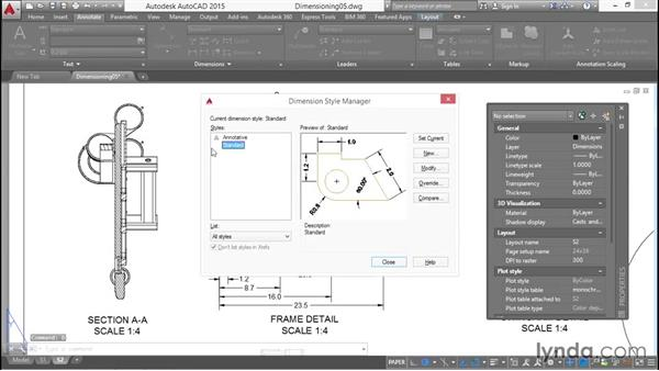 Editing dimension styles: Working with Dimensions in AutoCAD