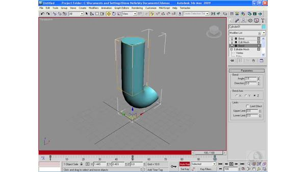 Applying modifiers at the sub-object level: 3ds Max 2009 Essential Training