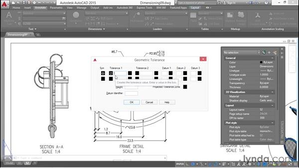 Creating geometric tolerance objects: Working with Dimensions in AutoCAD