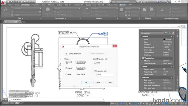 Adding inspection parameters: Working with Dimensions in AutoCAD