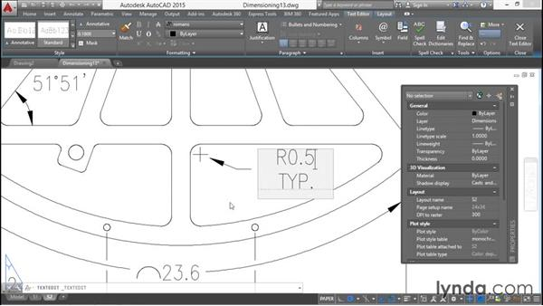 Overriding dimension text: Working with Dimensions in AutoCAD