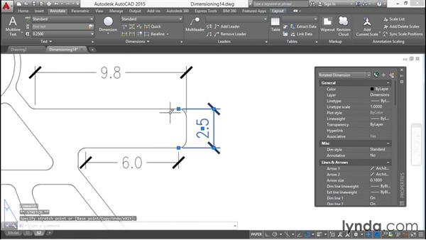 Repositioning and reorienting dimension text: Working with Dimensions in AutoCAD