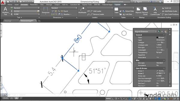 Altering extension lines: Working with Dimensions in AutoCAD