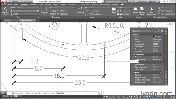 Spacing and breaking dimension objects: Working with Dimensions in AutoCAD