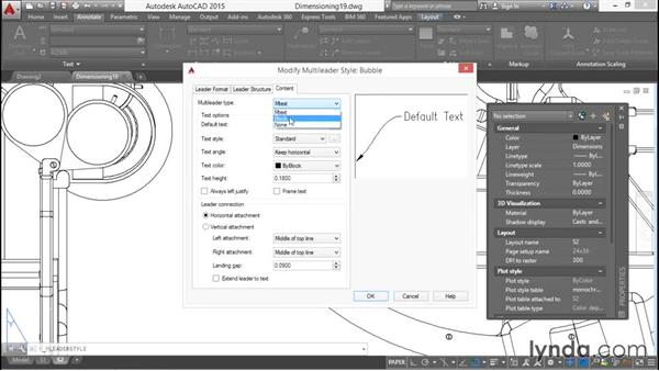 Styling multileaders: Working with Dimensions in AutoCAD