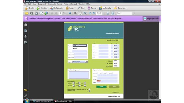 Examining a completed form: Acrobat 9 Pro: Creating Forms