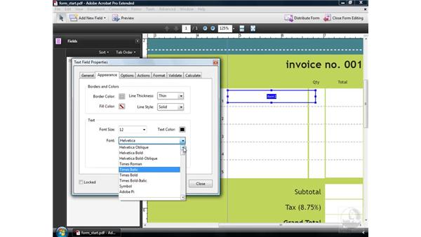 Creating text fields: Acrobat 9 Pro: Creating Forms