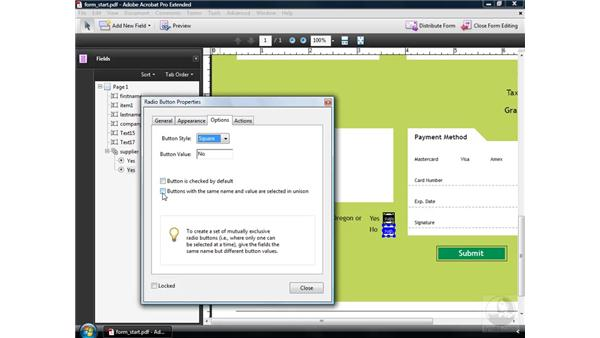 Using radio buttons: Acrobat 9 Pro: Creating Forms