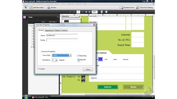 Using checkboxes: Acrobat 9 Pro: Creating Forms