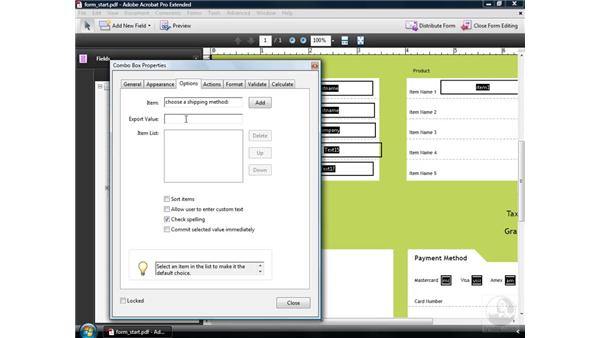 Creating a combo box: Acrobat 9 Pro: Creating Forms