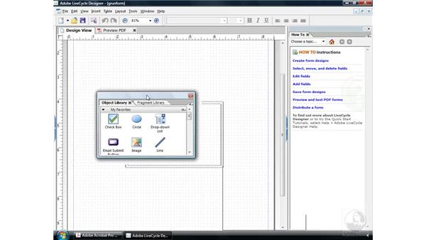 Using the LiveCycle workspaces: Acrobat 9 Pro: Creating Forms