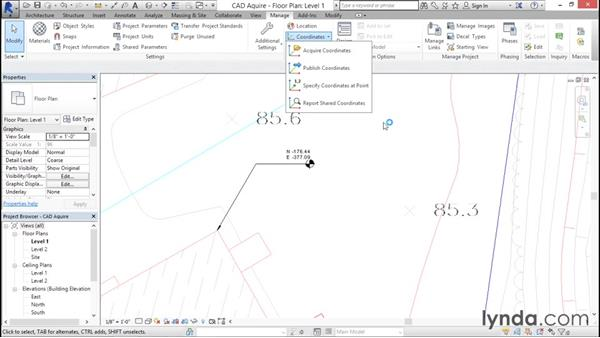 Acquiring coordinates from DWG links: Managing Location Coordinates with Revit