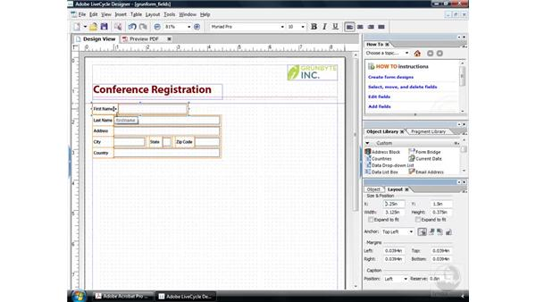 Using custom objects: Acrobat 9 Pro: Creating Forms