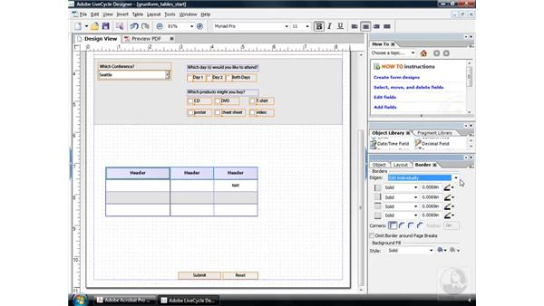 Editing a table: Acrobat 9 Pro: Creating Forms