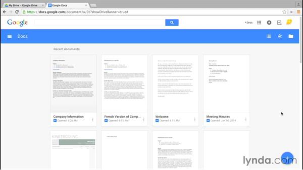 Signing in and creating a doc: Google Docs Essential Training