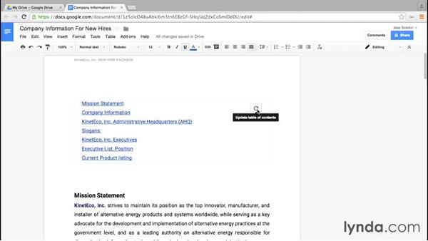 Creating a table of contents: Google Docs Essential Training
